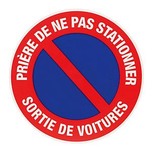 Disque de signalisation d'interdiction de stationner sortie de voitures ø 30 cm