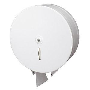 Distributeur de papier toilette en maxi bobine, métal blanc