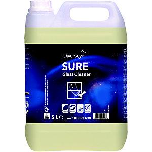 Diversey SURE Glass Cleaner Detergente per vetri, A base vegetale ,Biodegradabile al 100%, Tanica 5 litri