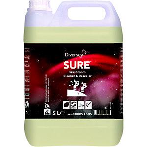 Diversey SURE Washroom Cleaner & Descaler Detergente e disincrostante per bagno, A base vegetale, Biodegradabile al 100%,Tanica 5 litri