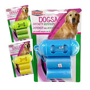DOGSAC Dispenser con sacchetti per deiezioni, Colori assortiti (Set dispenser con 3 rotoli)