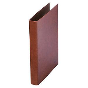DOHE Carpeta de 2 anillas de 25 mm, Folio natural, cartón cuero, lomo de 45 mm, marrón