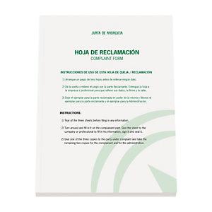 DOHE Libro con hojas de reclamaciones Junta de Andalucía Castellano / Inglés.