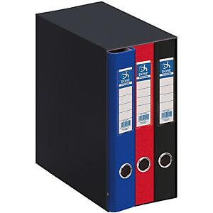 DOHE Oficolor Box de 3 carpetas de anillas, Folio, cartón plastificado, lomo 50 mm, colores surtidos