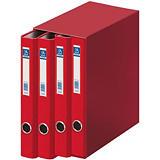 DOHE Oficolor Box de 4 carpetas de anillas, Folio, cartón plastificado, lomo 40 mm, rojo
