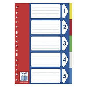 DOHE Separadores, Folio, polipropileno, 5 pestañas, colores surtidos