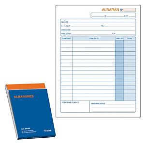 DOHE Talonario preimpreso en castellano para albaranes 144 x 210 mm con copia 50 hojas x 2