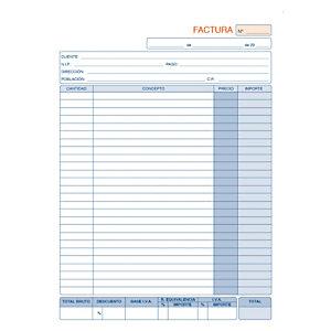 DOHE Talonario preimpreso en castellano para facturas A4 210 x 297 mm con copia 50 hojas x 2