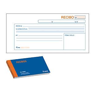 DOHE Talonario preimpreso en castellano para recibos 210 x 100 mm con copia 50 hojas x 2