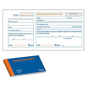 DOHE Talonario preimpreso en castellano para recibos inquilino 210 x 100 mm 100 hojas