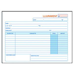 DOHE Talonario preimpreso en català para albarans 4º apaisat 210 x 148 mm amb còpia 50 x 2