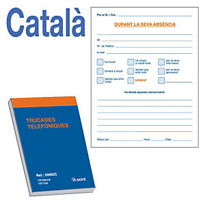 DOHE Talonario preimpreso en català Trucades telefòniques A6 105 x 148 mm 100 hojas