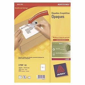 Doos van 200 ondoorzichtige witte laser etiketten L 7168 formaat 199,6 x 143,5 mm Avery