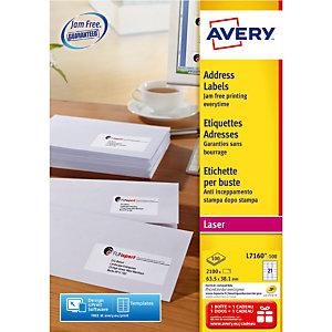 Doos van 2100 witte laser etiketten L7160 formaat 63,5 x 38,1 mm Avery