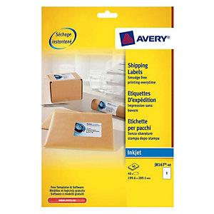 Doos van 40 witte inkjet etiketten J8167 formaat 199,6 x 289,19 mm Avery