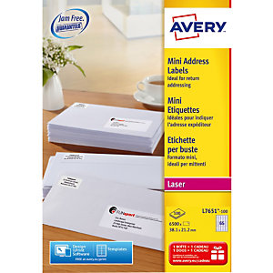 Doos van 6500 witte laser etiketten L7651 formaat 38.1 x 21.2 mm Avery