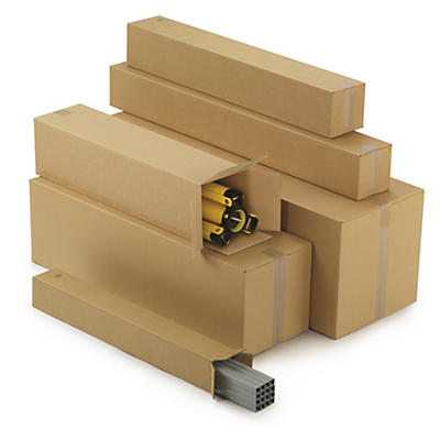 Double wall, end opening long cardboard box