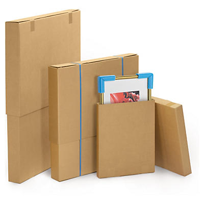 Double wall, flat telescopic cardboard boxes