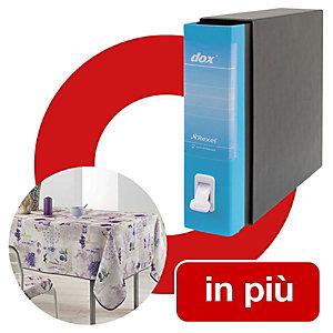 Dox 2 Classic Offerta 12 Registratori archivio formato protocollo, Dorso 8 cm, Colore Azzurro Capri + 1 tovaglia antimacchia compresa nel prezzo