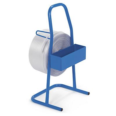 Dévidoir portable pour feuillard de cerclage textile##Draagbare haspel voor rollen omsnoeringsband in textiel