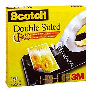 Dubbelzijdig plakband Scotch 19 mm x 32,9 m met beschermfilm