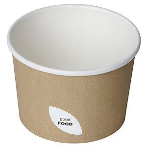 Duni ecoecho® Ciotola per primi e zuppe calde, Capacità 550 ml, 11,5 x 11,5 x 7,7 cm, Cartone/PLA, Marrone (confezione 50 pezzi)