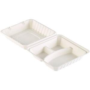 Duni ecoecho Contenitore per alimenti monouso, Bagassa, 590 ml, Bianco (confezione 50 pezzi)