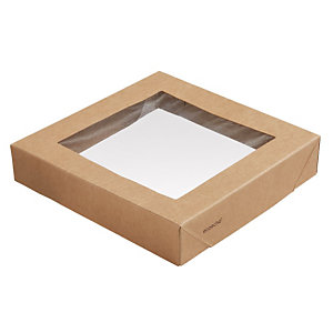 Duni ecoecho® Coperchio con finestra per Scatola Viking® Block, Cartone laminato in PLA, 14 x 14 x 2,9 cm, Marrone (confezione 300 pezzi)