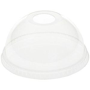 Duni ecoecho® Coperchio monouso a cupola con foro per bicchiere Crystal capacità 300, 400, 500 ml, rPET, Riciclabile, Trasparente (confezione 50 pezzi)