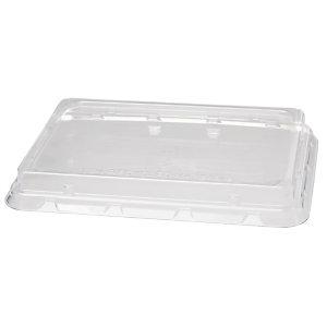Duni ecoecho® Coperchio monouso per scatola rettangolare in bagassa capacità 850 ml, 100% rPET, Trasparente (confezione 40 pezzi)