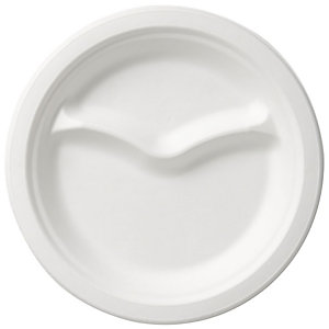 Duni ecoecho® Piatto monouso a 2 scomparti in bagassa bio e compostabile, Ø 22 cm, Bianco (confezione 500 pezzi)