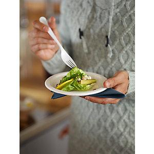 Duni ecoecho® Piatto monouso in bagassa compostabile, ø 22 cm, Bianco (confezione 50 pezzi)