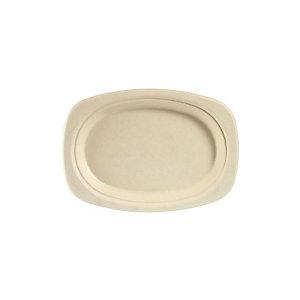 Duni ecoecho® Piatto ovale monouso in bagassa bio e compostabile, Ø 22 cm, Marrone (confezione 500 pezzi)
