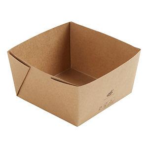 Duni ecoecho® Scatola Viking® Block, Cartone laminato in PLA, Capacità 1200 ml, 14 x 14 x 7,5 cm, Marrone (confezione 300 pezzi)