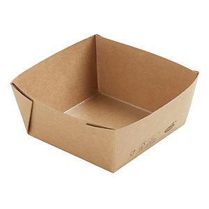 Duni ecoecho® Scatola Viking® Cube Low, Cartone laminato in PLA, Capacità 510 ml, 11,3 x 11,3 x 5 cm, Marrone (confezione 300 pezzi)
