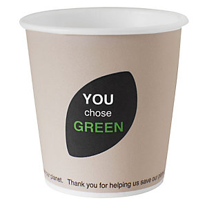 Duni ecoecho® Tazza monouso Thank You in carta/PLA compostabile, Capacità 120 ml, Decorata (confezione 1.620 pezzi)