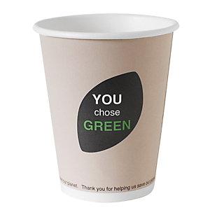 Duni ecoecho® Tazza monouso Thank You in carta/PLA compostabile, Capacità 240 ml, Decorata (confezione 800 pezzi)