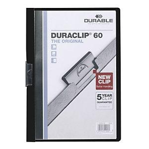 DURABLE 5 Chemises à clip DURABLE Duraclip® en PVC - Noir - 30 feuilles