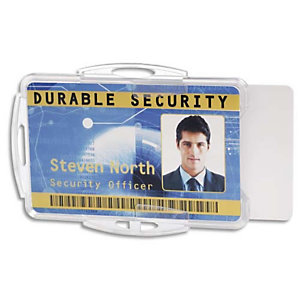 DURABLE Boîte 10 Porte-badges ouvert pour 2 carte format portrait ou paysage - L85 x H54 mm - Transparent
