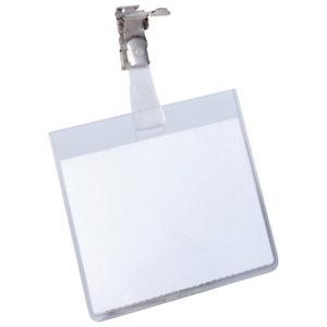Durable Busta portanome a tasca chiusa con clip in metallo, 60 x 90 mm, Trasparente (confezione 25 pezzi)