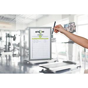 Durable Cadre d'affichage adhésif DURAFRAME NOTE A4 avec support d'écriture – Argent