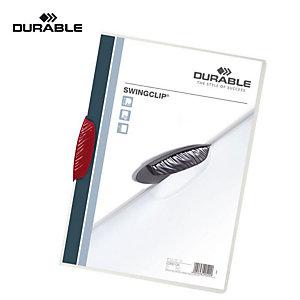 Durable Cartellina con fermafogli Swingclip, Capacità 30 fogli, Rosso