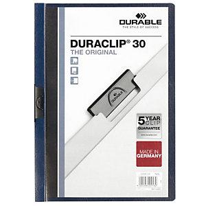 Durable Cartelline con clip fermafogli Duraclip, Capacità 30 fogl, Blu mezzanotte