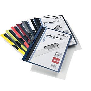 Durable Cartelline con clip fermafogli Duraclip, Capacità 30 fogli, Nero