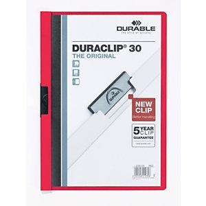 Durable Cartelline con clip fermafogli Duraclip, Capacità 30 fogli, Rosso