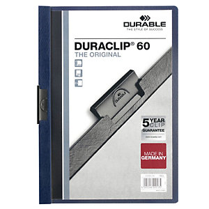 Durable Cartelline con clip fermafogli Duraclip, Capacità 60 fogl, Blu mezzanotte