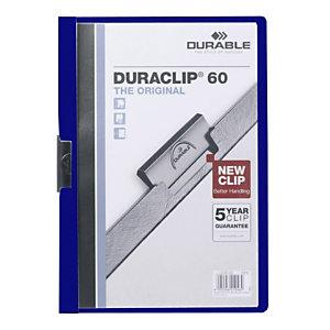 Durable Cartelline con clip fermafogli Duraclip, Capacità 60 fogli, Blu scuro