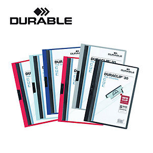 Durable Cartelline con clip fermafogli Duraclip, Capacità 60 fogli, Grigio