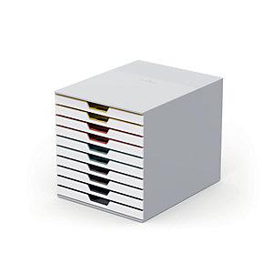 Durable Cassettiera 10 cassetti Varicolor® MIX 10, Struttura bianca, cm 28 x 35,5 x 29,2 h