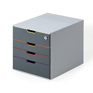 Durable Cassettiera 4 cassetti Varicolor® 4 SAFE, Struttura grigia, cm 28 x 35,5 x 29,2 h